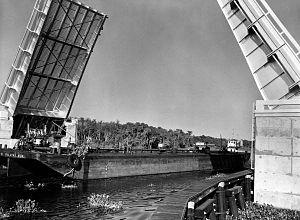 Francis P. Whitehair Bridge - The Whitehair Bridge in its open position