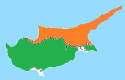 Карта с указанием местоположения Кипра и Северного Кипра