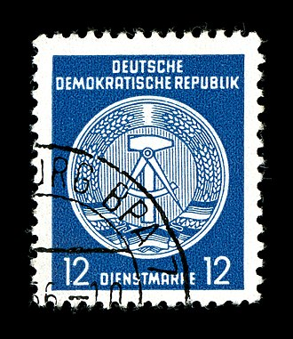 Deutsche Post of the GDR - Image: DDR, Dienstmarke, 12 Pfennig, Zirkel rechts