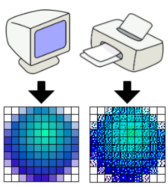 "Dots per inch - A 10 × 10-pixel image on a computer display usually requires many more than 10 × 10 printer dots to accurately reproduce, due to limitations of available ink colors in the printer; here, a 60x60 grid is used, providing 36x the original density, compensating for the printer's lower color depth. The whole blue pixels making up the sphere are reproduced by the printer using different overlaid combinations of cyan, magenta, and black ink, and the light aqua by cyan and yellow with some ""white"" (ink-free) print pixels within the actual image pixel. When viewed at a more normal distance, the primary colored stippled dots appear to merge into a smoother, more richly colored image."