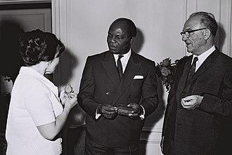 Justin Ahomadégbé-Tomêtin - Ahomadegbe-Tometin with Israeli Prime Minister Levi Eshkol, 1964