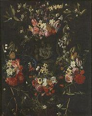 Guirlande de Fleurs avec la Vierge Marie, l'Enfant Jésus et Saint Jean
