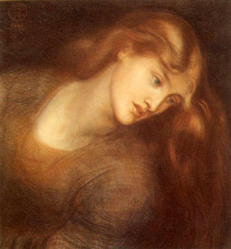 Tableau aux tons ambrés présentant une belle jeune femme aux longs cheveux, penchée sur la gauche.