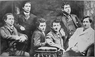 Jacob Pavlovich Adler - from right: Jacob P. Adler, Zigmund Feinman, Zigmund Mogulesko, Rudolf Marx, Mr. Krastoshinsky and David Kessler, 1888