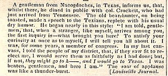 Gone to Texas - This newspaper article is from page 99 of the April 9, 1836 edition of the Niles' Weekly Register, published in Baltimore. The article is the report of a notable Davy Crockett story about his threat to go to Texas if they did not re-elect him.