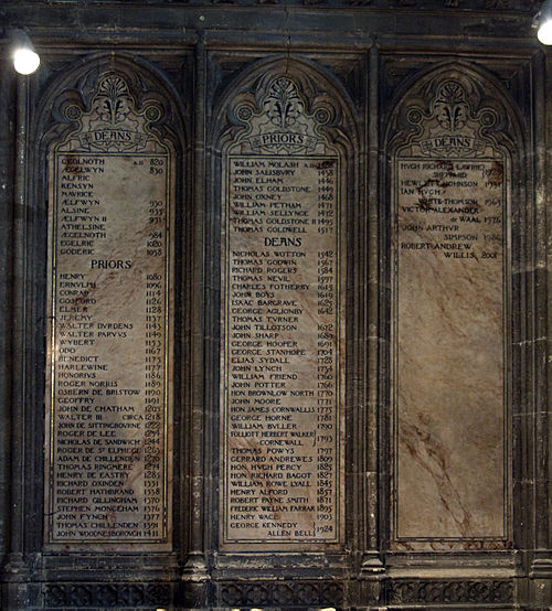 Inscribed panels in Canterbury Cathedral, listing the Deans of Canterbury Deanscanterburylist.jpg