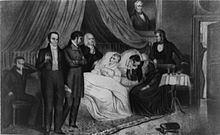 Black and white print of people gathering around a dying man's bedside