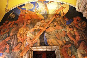 Ramón Alva de la Canal - El desembarco de los españoles y la cruz plantada en tierras nuevas at the College of San Ildefonso