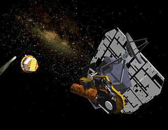 Deep Impact (spacecraft) - Artist's impression of the Deep Impact space probe after deployment of the Impactor.