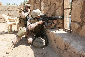 Battle of Ramadi (2006) - Marines during an operation to prevent and disrupt insurgency activity in Ramadi, April 25, 2006