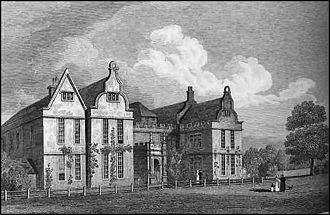 Delapré Abbey - Print of the west front of the Abbey by J. P. Neale