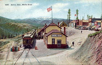 Denver and Salt Lake Railway - The line's Arrow rail stop, which was 11 miles from Corona.  It was also used for a sightseeing destination.