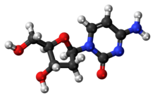 Ball-and-stick model of the deoxycytidine molecule