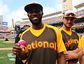 Dexter Fowler poses with a magenta baseball during the T-Mobile -HRDerby. (28542749476).jpg