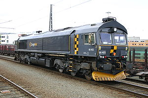 EMD Class 66 - CD66 of CargoNet The air conditioning unit is visible above the cab.