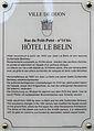 Dijon Hotel LE BELIN plaque information.jpg