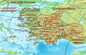 See of Sardis - Map of the civil Diocese of Asia and its provinces in Late Antiquity, which was paralleled by the ecclesiastical administration