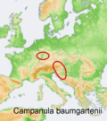 Distribution map Campanula baumgartenii.png