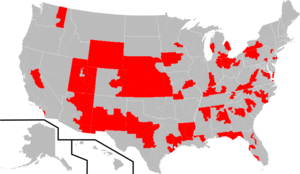 Congressional Constitution Caucus - The Districts of Caucus Members (as of the 114th Congress) are highlighted in red.  Please note: Only Districts within the House of Representatives are shown.  Senate Districts are excluded.