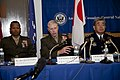 DoD photo 110415-M-VG363-105 Lt. Gen. Kenneth Glueck, center, the commanding general of III Marine Expeditionary Force and commander of Marine Corps Bases Japan, answers questions about Operation Tomodachi disaster relief efforts April 15, 2011.jpg