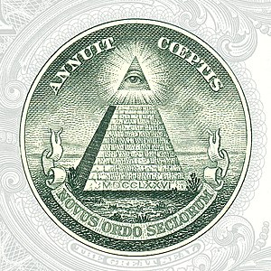 Eye of Providence - The Eye of Providence can be seen on the reverse of the Great Seal of the United States, seen here on the US $1 bill