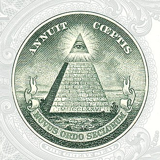 Conspiracy theory - The Eye of Providence, or the all-seeing eye of God, seen here on the US$1 bill, has been taken by some to be evidence of a conspiracy involving the founders of the United States and the Illuminati.