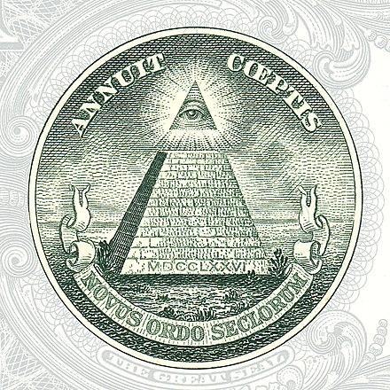 ここで1ドル紙幣に見られるプロビデンスの目、または神のすべてを見通す目は、米国の創設者とイルミナティが関与する陰謀の証拠であると一部の人に見られています[1]:58 [2 ]:47–49