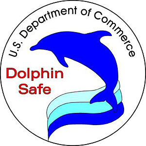 Dolphin safe label - United States Department of Commerce dolphin safe label.