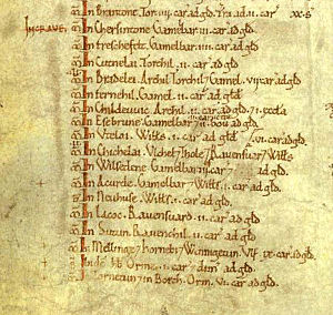 Craven - The Domesday Book, on folio 301v, lists the arable land In Craven