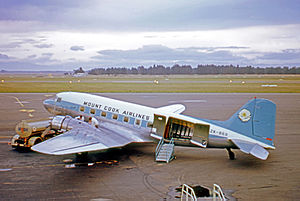 Mount Cook Airline - Mount Cook Airline Douglas DC-3 at Christchurch International Airport in 1971.