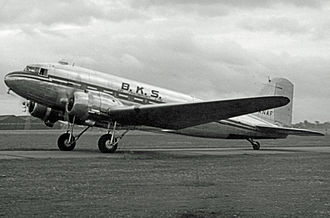 Northeast Airlines (UK) - BKS Air Transport Douglas C-47 wearing the initial all-metallic scheme at Manchester Airport in 1954