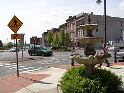 Centennial Circle, a five-leg roundabout located in downtown Glens Falls