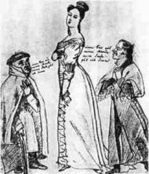 Annette von Droste-Hülshoff - Annette von Droste-Hülshoff, torn between Heinrich Straube and August von Arnswaldt. Caricature by Ludwig Emil Grimm, 1820