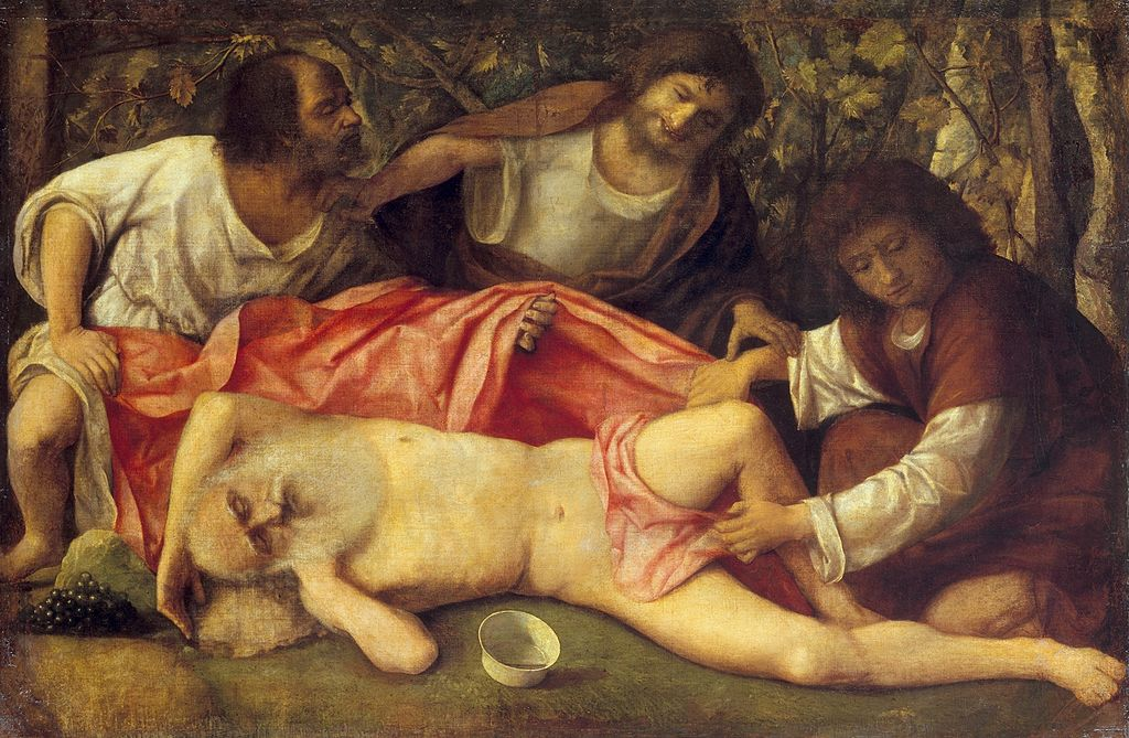 ベリーニの「ノアの泥酔」の画像