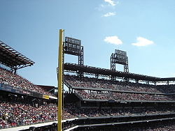 1 of 2 foul poles at Citizens Bank Park.