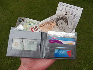 Duct tape - A wallet constructed entirely from tape and envelope windows