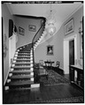 ENTRANCE HALL AND STAIRS, LOOKING SOUTH - Edgewater, Station Road, Barrytown, Dutchess County, NY HABS NY,14-BARTO.V,1-17.tif