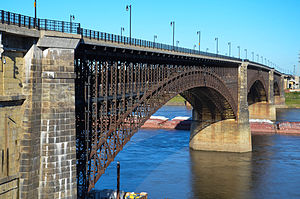 Eads Bridge - The Eads Bridge from St. Louis, stretching over the Mississippi River toward Illinois
