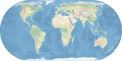 Image Source: World Map made with natural Earth data, Eckert 4 projection, central meridian 10° east. Author: Ktrinko
