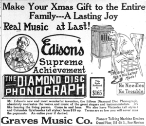 Edison Disc Record - 1915 newspaper ad for the product.