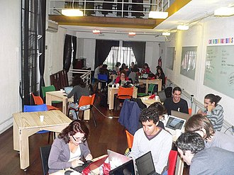 Edit-a-thon - An edit-a-thon in São Paulo, Brazil, aimed at creating and improving Wikipedia articles relating to feminism, women's rights and notable women