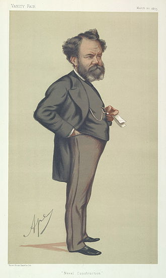 """Edward James Reed - """"Naval Construction"""". Caricature by Ape published in Vanity Fair in 1875."""