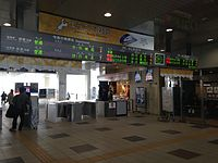 Electronic signage of Takaoka Station from inner side.JPG