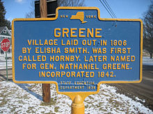 Village of Greene, NY, laid out in 1806 by Elisha Smith.