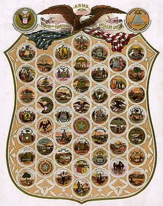 Seal of the District of Columbia - This collection of United States Seals was registered by the Library of Congress in 1876. When enlarged, the Seal of the District of Columbia has one noticeable difference: the space now occupied by George Washington is held by the Statue of Freedom.