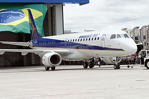 Science and technology in Brazil - The airplane Embraer 190 produced by Brazilian aircraft company Embraer.