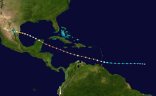 Map plotting the track and the intensity of the storm, according to the Saffir-Simpson scale Emily 2005 track.png