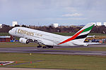 Emirates Airbus A380-861 A6-EOP departing from Birmingham Airport.jpg