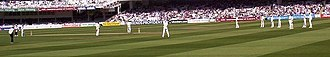 2005 English cricket season - England set a very attacking field against Bangladesh on the third day of the first Test. England won comfortably by an innings and 261 runs