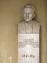 Bust of Schrödinger, in the courtyard arcade of the main building, University of Vienna, Austria.